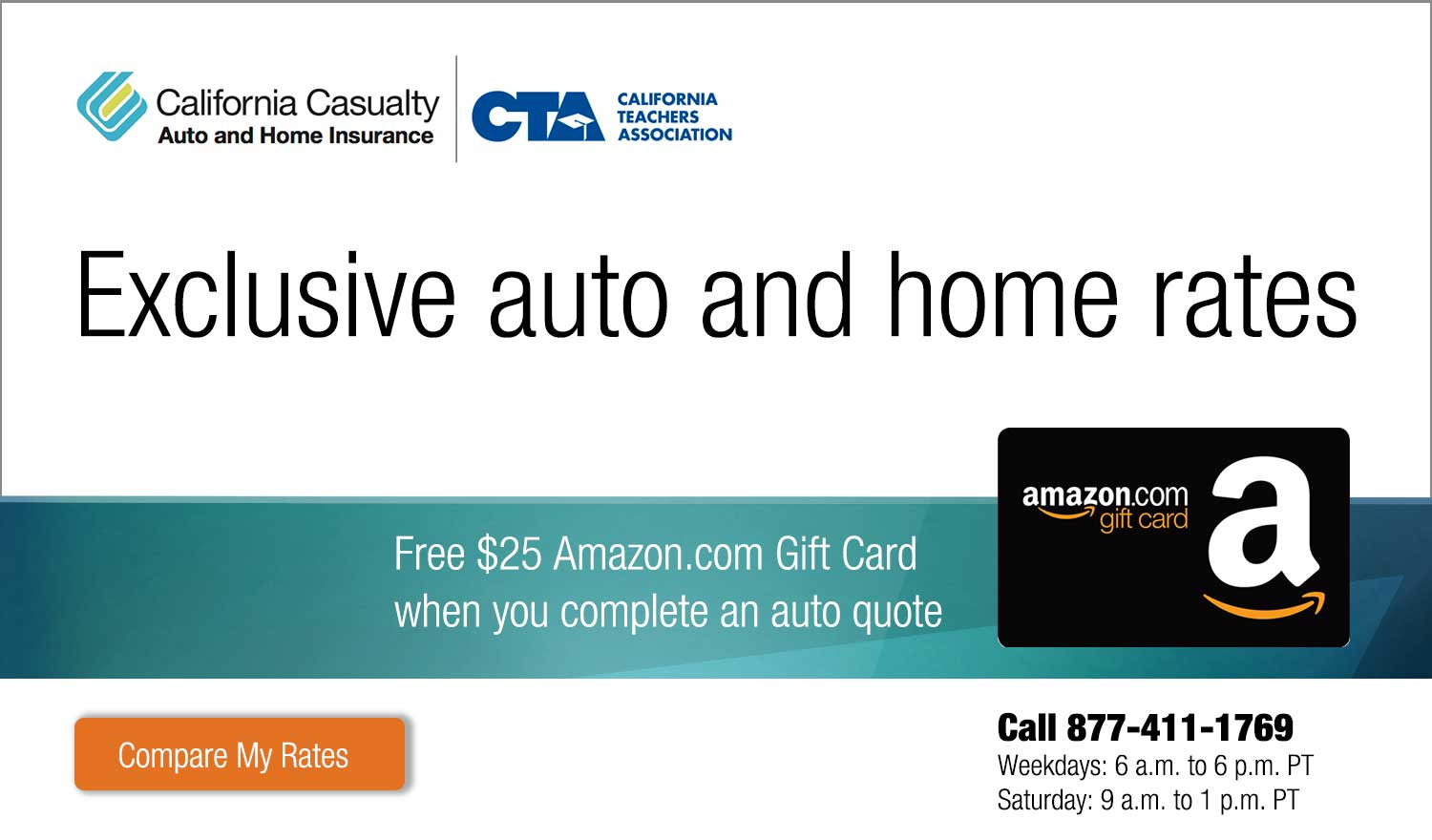 California Casualty Auto and Home Insurance: Exclusive auto and home rates for CTA members. Free $25 Amazon.com Gift Card when you complete an auto quote.